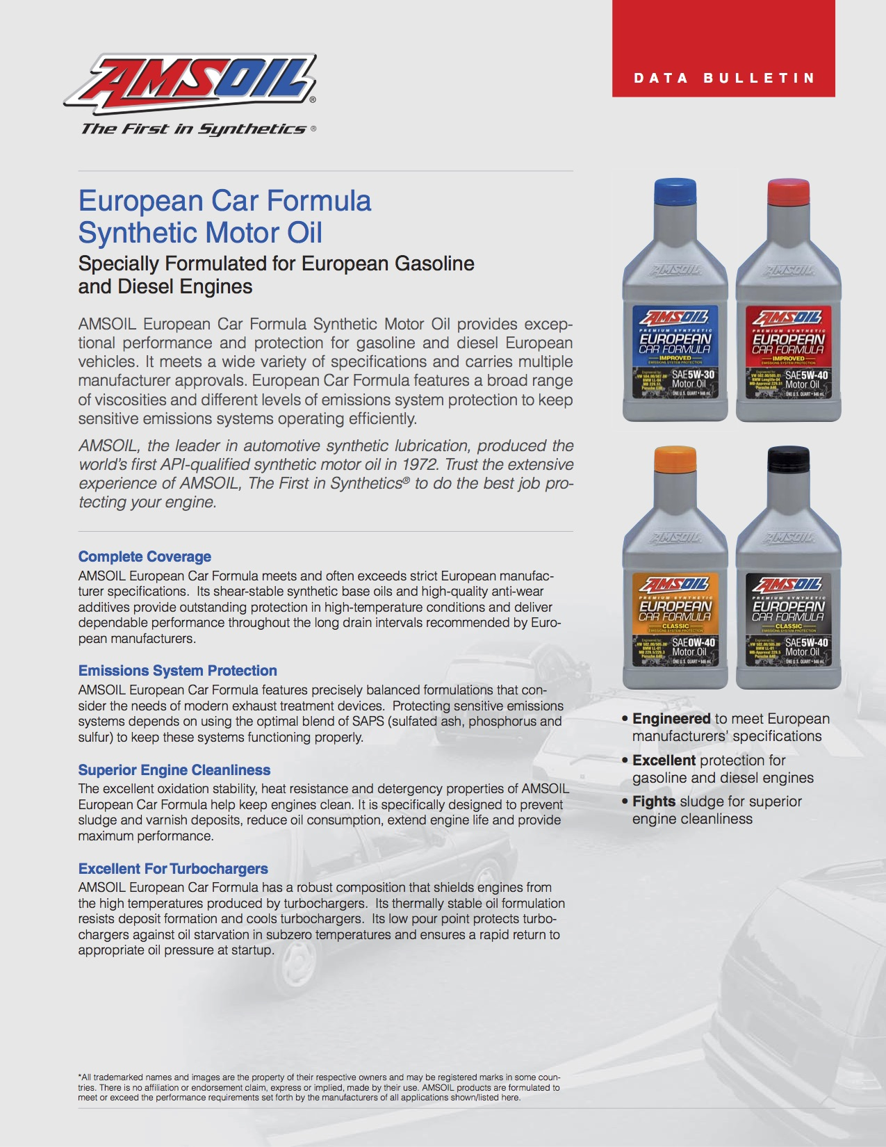 European Car Formula Synthetic Motor Oil AFL